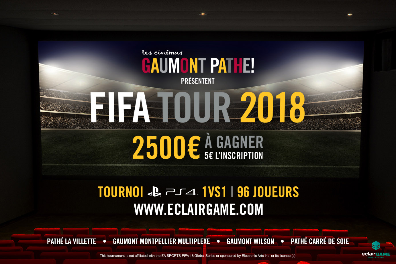 EclairGame and Les Cinémas Gaumont Pathé strengthen their eSport partnership with Fifa Tour 2018